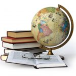 Books, globe and glasses isolated